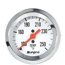 sunpro,chrome  water temp gauge ,rat rod race  circle track ford mopar chevy amc