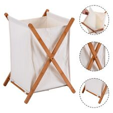 Household Folding Bamboo X-Frame Laundry Hamper Clothes Storage Basket Bin Bag