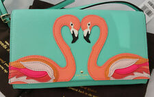 KATE SPADE APPLIQUE CALI FRESH AIR AQUA FLAMINGO CLUTCH / CROSSBODY BAG LTD ED
