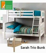 SARAH SINGLE DOUBLE TRIO BUNK BED TIMBER IN WHITE