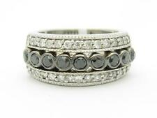 14kt White Gold Genuine White & Black Diamond Bezel Set Wide Band Pave Ring Gift
