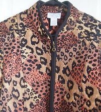 EXCELLENT Womens LEOPARD Print Zip Front Size Large Woven Tapestry Jacket Animal