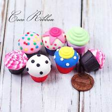 22mm 12pc Mix Polymer Clay Miniature Cupcake Dollhouse Diy Flatback Cabochon
