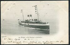 Posted from France in 1904. View of the Steamer 'Arundel' Sailing from Dieppe