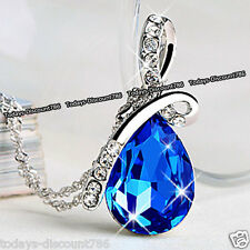 XMAS Gifts For Her - Silver & Royal Blue Crystal Teardrop Necklace Love Women A1