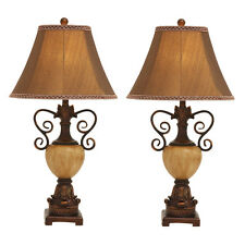 Urban Designs Copper Ornate 32-Inch Polystone Table Lamp - Set of 2