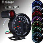 "5.1"" Adjustable 7 Color LED 11K RPM Tachometer Gauge Rev Counter & Shift Light"