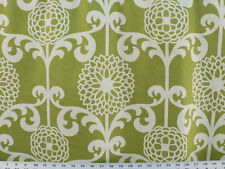 Drapery Upholstery Fabric Cotton Sateen Large Scale Retro Floral - Chartreuse