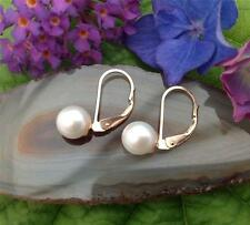 7 mm. Fresh Water Pearl Stud Earrings on 18 ct. Gold (Leverback)