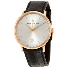 Maurice Lacroix Les Classiques Tradition White Dial Brown Alligator Leather