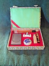 Asian Oriental Calligraphy Writing Pen Set -Lined Velvet Box,Ink Well,Seal