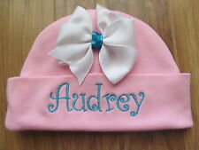 PERSONALIZED MONOGRAM CUSTOM Baby Beanie Infant Hospital Hat Cap Bow w/Turqoise