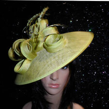 FAILSWORTH ZEST GREEN WEDDING HAT DISC FASCINATOR FORMAL MOTHER OF THE BRIDE