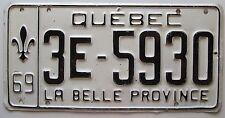 Quebec 1969 License Plate NICE QUALITY # 3E-5930