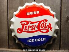 PEPSI COLA BOTTLE CAP 3-D Tin Sign Large Die Stamped Metal Signs Bar Kitchen