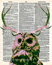 Owl Antlers Art Print 8 x 10 - Dictionary Page - Surreal - Taxidermy - Pop Art