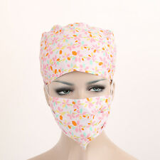 Women's Pink Floral flowers Medical Surgical Surgery Hat/Cap+ Dust/Smoke Mask