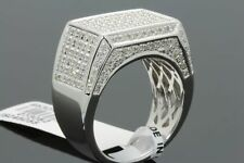 1.12 CARAT GENUINE DIAMONDS MENS WHITE GOLD FINISH ENGAGEMENT DIAMOND RING PINKY
