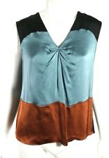 MARNI Steel Blue & Brown Satin Bow Keyhole Back Sleeveless Blouse 40