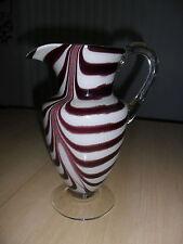 """Vintage Hand-Blown Bar-ware Glass Zebra Stripe Design, Pitcher, 10"""" Tall"""