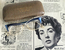 Vintage 50s 60s MAD MEN Era Womens Blue Cat Eye Glasses Specs Original Case