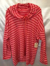 ST. JOHN'S BAY RED CORAL STRIPE PULL OVER SHIRT BEACH COVER NWT $40 SIZE 1X