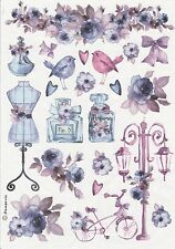 Rice Paper for Decoupage Decopatch Scrapbook Craft Sheet Vintage Blue Fashion