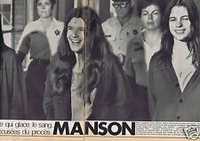 Coupure de presse Clipping 1970 Charles Manson  (2 pages)
