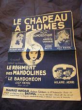 Partition Le chapeau à plumes Jacques Hélian Lily Fayol 1948 Hilaire et Henri