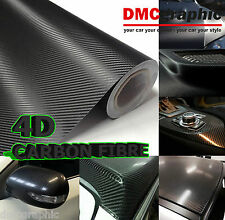 10x152cm Black Gloss 4D Carbon Fibre Adhesive Vinyl Wrap 3M Bubble Free Sticker