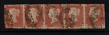 1841 Penny Red (RA/RE) Strip of Five Four Margins-1st & last stamp are 3 margin