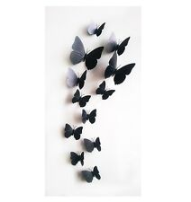12pc Decorative 3D butterfly wall stickers with Magnet, removable for Home-Black