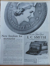 1940 magazine ad for L.C. Smith Typewriters - New Freedom for Secretaries