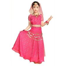 Girls Kids Indian Belly Dance Costume Outfit Top Skirts Set Bollywood Halloween
