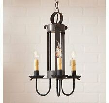 Irvin's Country Tinware Large Amherst Hanging Light in Blackened Tin