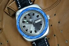 VINTAGE TANIS 21 JEWELS AUTOMATIC WORLD TIME DIVER SWISS WATCH BIG