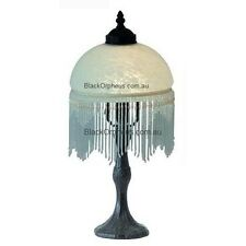 Beaded Victorian Lamp, White Beaded Table Lamp, Bedside Lamp