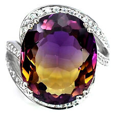 14.1 CT MULTI COLOR AMETRINE & SAPPHIRE OVAL STERLING SILVER 925 RING SIZE 5.75