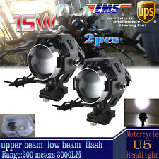 2X 125W Motorcycle CREE U5 LED Driving Headlight Fog Lamp Spot Light For Harley