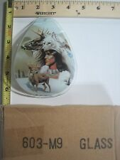 FREE US SHIP ok touch lamp replacement glass panel Indian Deer Wolf 603-M9