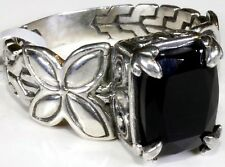 Thai Black Spinel Sterling Silver Butterfly Engraved Ring (Size 9) TGW 4.53 cts