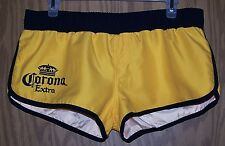 WOMEN'S ATHLETIC YELLOW AND BLUE CORONA MINI BOOTY BEACH  SHORTS  - size Small