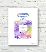 Chanel No 5 Abstract Watercolor Painting Art Print by Artist DJ Rogers