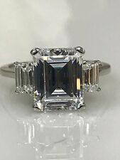 Emerald Cut Three Stone Engagement Wedding Ring 5.00 ctw 14K White Gold #4762