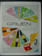 1959 Gruen Wrist Watch Great Full Color Page Vintage Print Ad 12172