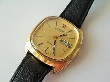 GOLD CAPPED GENT'S RETRO DAY DATE OMEGA MEGAQUARTZ WRIST WATCH
