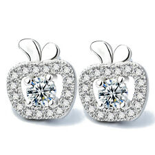 925 STERLING SILVER ROUND CLEAR CRYSTAL CZ STONE PAVED APPLE SHAPE EARRINGS E808