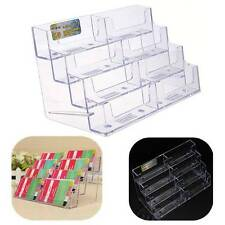 8 Pocket Business ID Card Holder Desk Stand Display Desktop Office Shelf Acrylic