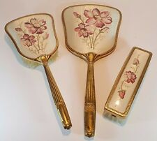 VINTAGE PINK PETIT POINT EMBROIDERY HAIR CLOTHES BRUSH HAND MIRROR VANITY SET