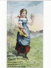 "*Postcard-AD-""Young Lady in Open Field"" -Ayer's Cherry Pectorral- (For Coughs)"
